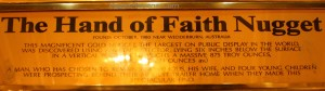 "Gold Nugget ""Hnad of Faith"" Plaque"
